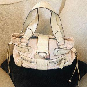 GUESS Monogram Fabric Satchel Handbag.